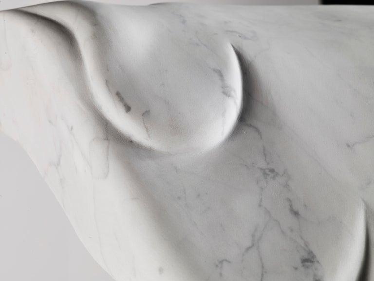 Contemporary Atelier Terrai Italian White Carrara Marble Art Deco Design Console For Sale 4
