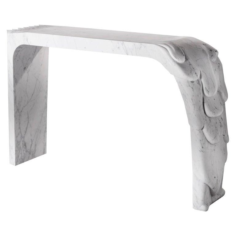 Contemporary Atelier Terrai Italian White Carrara Marble Art Deco Design Console For Sale