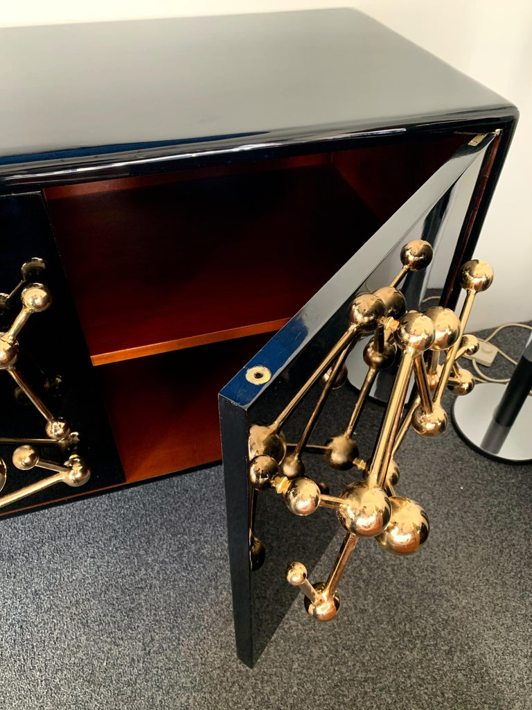 Gilt Contemporary Atomo Lacquered Cabinets Buffets by Antonio Cagianelli, Italy For Sale