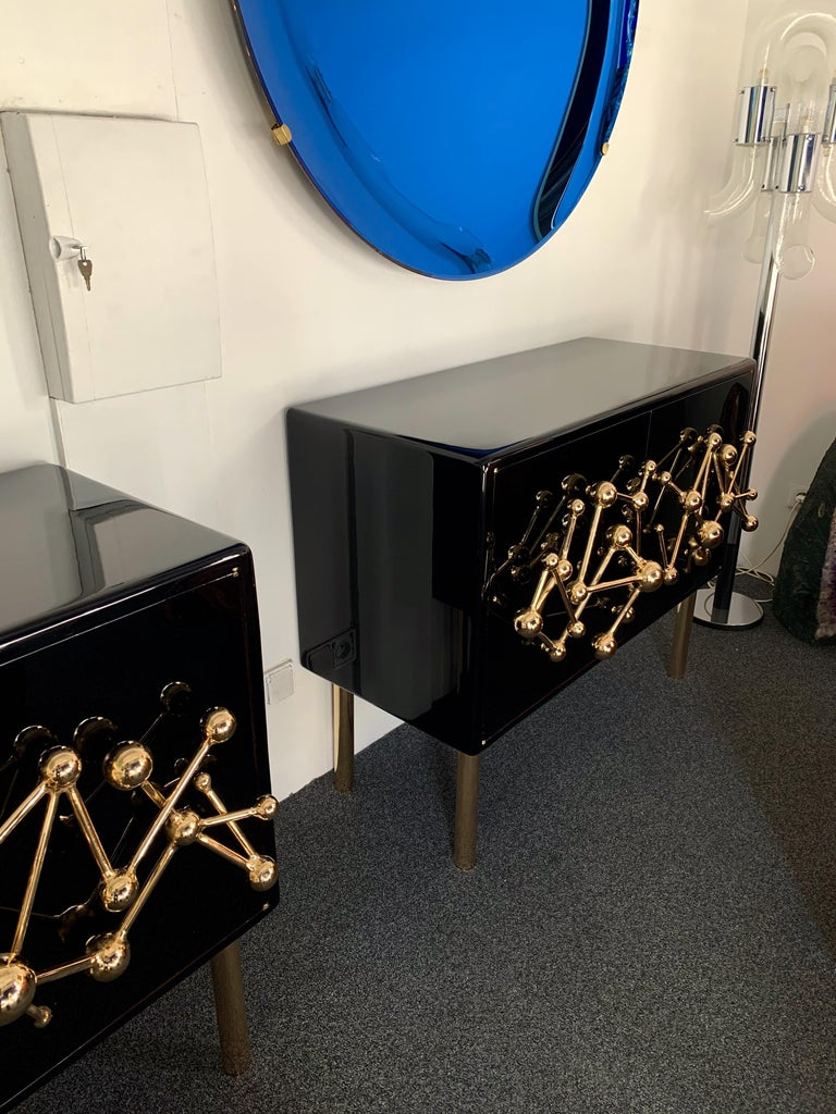 Wrought Iron Contemporary Atomo Lacquered Cabinets Buffets by Antonio Cagianelli, Italy For Sale