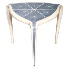 Contemporary Authentic Navy Blue Shagreen Tripod Table