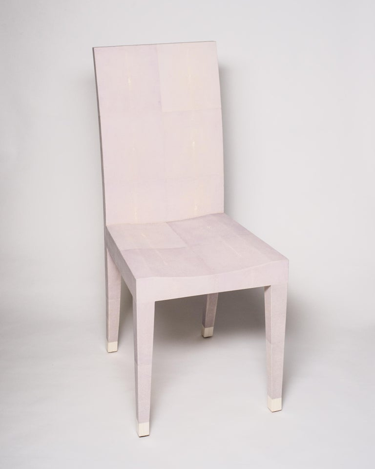 An authentic Shagreen lavender chair. The refined tapered leg is capped with a bone toe. This elegant, versatile, yet modern chair is well suited for a bathroom, a woman's vanity or a desk.