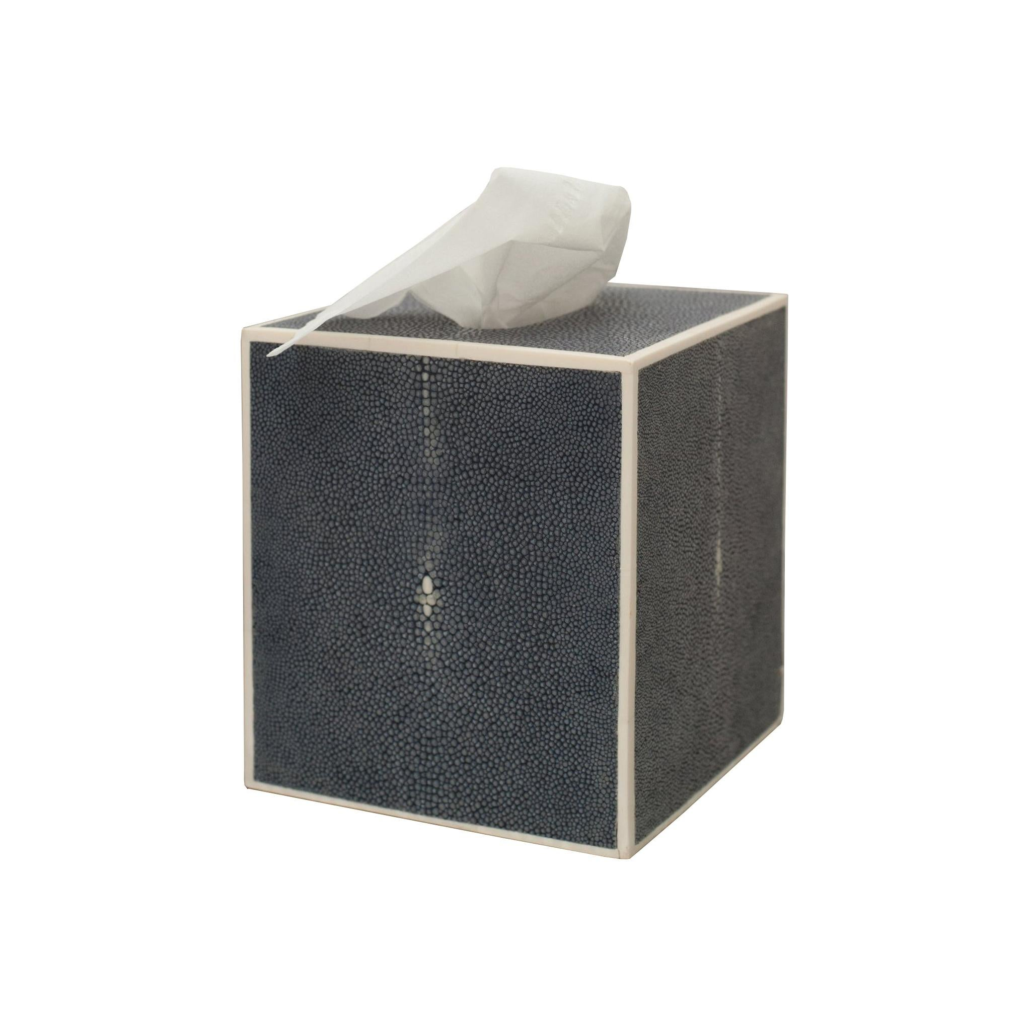 Contemporary Authentic Shagreen Navy Blue Covered Tissue Box