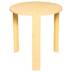 Contemporary Authentic Shagreen Round Table in Canary Yellow