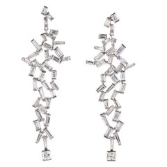 Contemporary Baguette Cut Diamond Dangle Earrings in 19.2 Karat White Gold