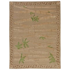 Contemporary Bamboo Brown & Fresh Green Hand Knotted Wool & Silk Rug