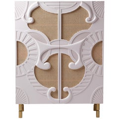 Contemporary Bar Cabinet in Woven Rattan and Lacquered Wood