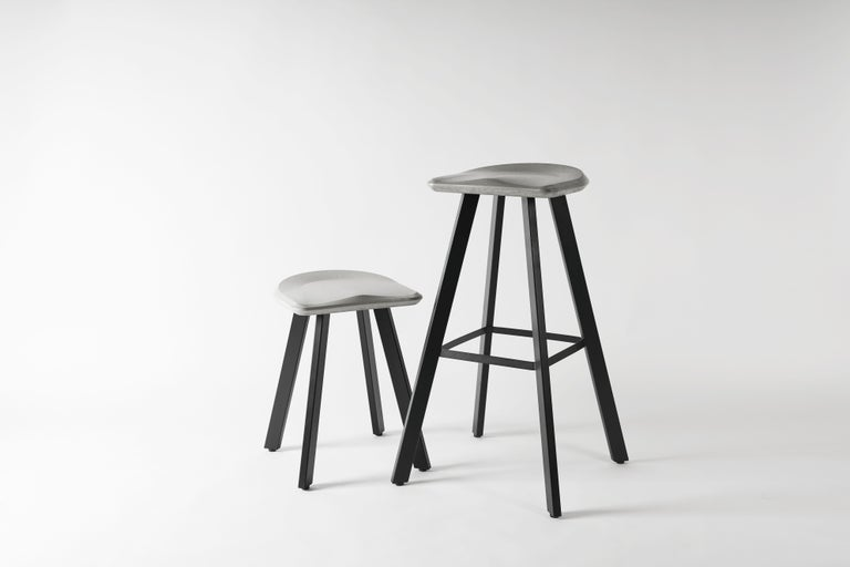 Industrial Contemporary Bar Stool 'A' Made of Concrete and Aluminum For Sale