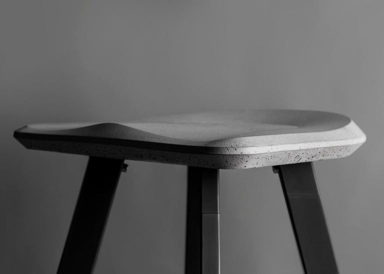 Chinese Contemporary Bar Stool 'A' Made of Concrete and Aluminum For Sale