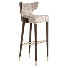 Contemporary Bar Stool Customizable, Wood Frame and Brass Details, Made in Italy