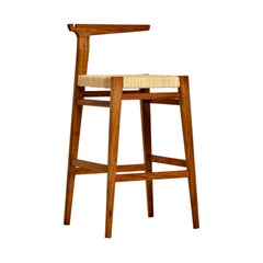 Contemporary Bar Stool in Brazilian Hardwood and Cord by Ricardo Graham Ferreira