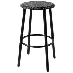 Contemporary Bar Stool 'PING' Made of Black Terrazzo