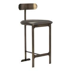Contemporary Barstool, Bronze/Grey