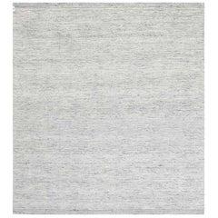 Contemporary Bauer Collection Minimalist Design Light Gray Handmade Wool Rug III