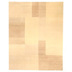 Contemporary Bauhaus Hand Knotted Wool and Silk Rug