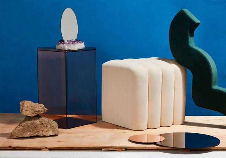 Brushed Contemporary Bb Stool Upholstered '100% Cotton Velvet in Cream' For Sale