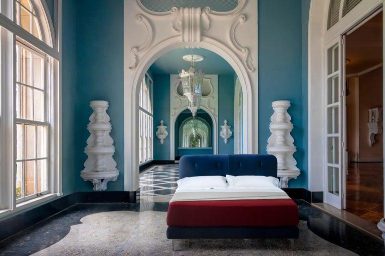 Modern Contemporary Bed, Velvet, Handmade in Italy For Sale