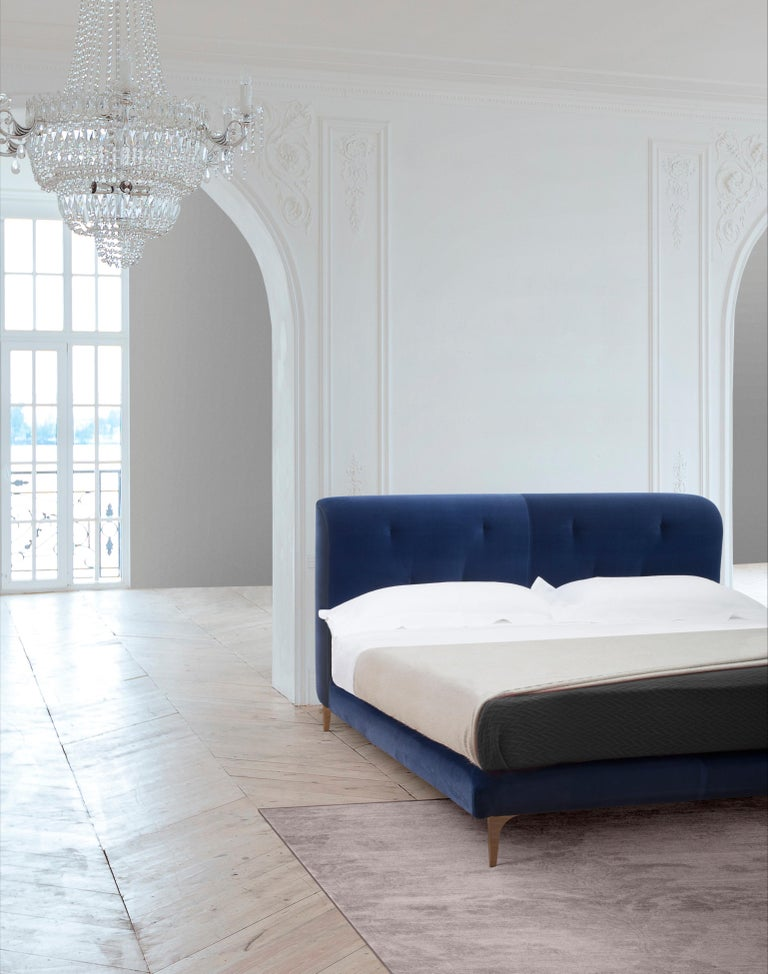Modern Contemporary Bed, Velvet, Handmade in Italy For Sale