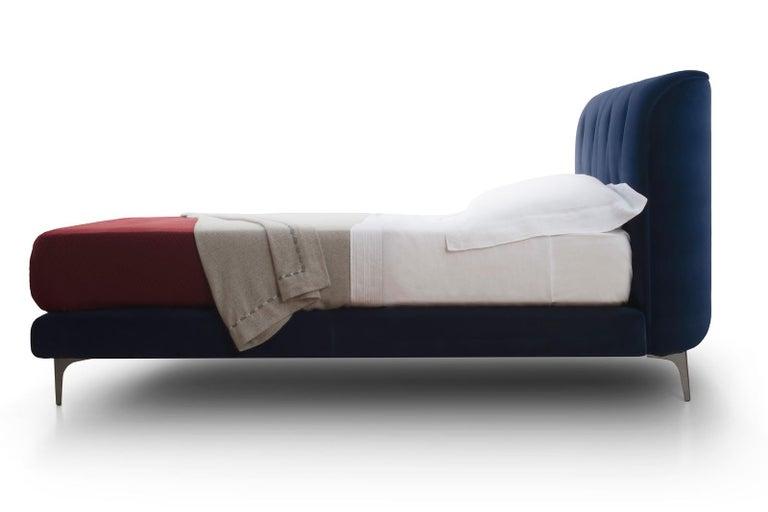 Contemporary Bed, Velvet, Handmade in Italy For Sale 1