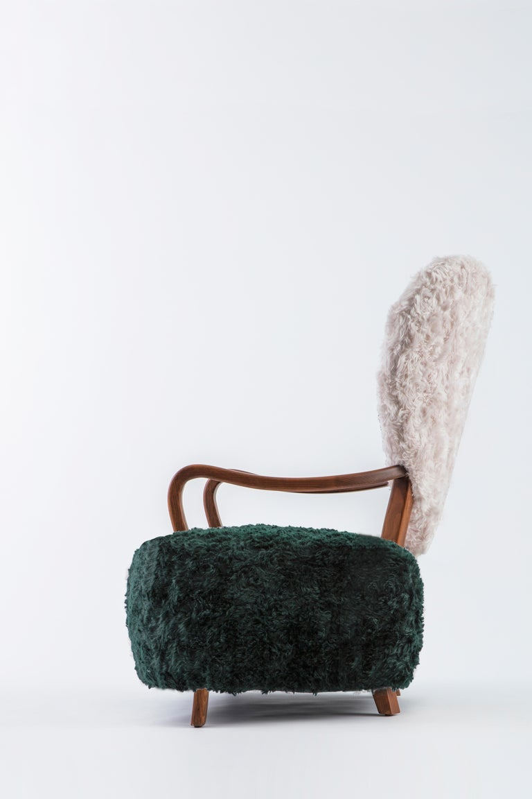 Turkish Contemporary Beechwood Uni Armchair with Green and Cream Mohair Upholstery For Sale
