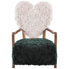Contemporary Beechwood Uni Armchair with Green and Cream Mohair Upholstery