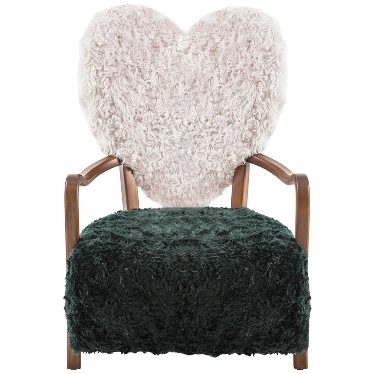 Contemporary Beechwood Uni Armchair with Green and Cream Mohair Upholstery For Sale