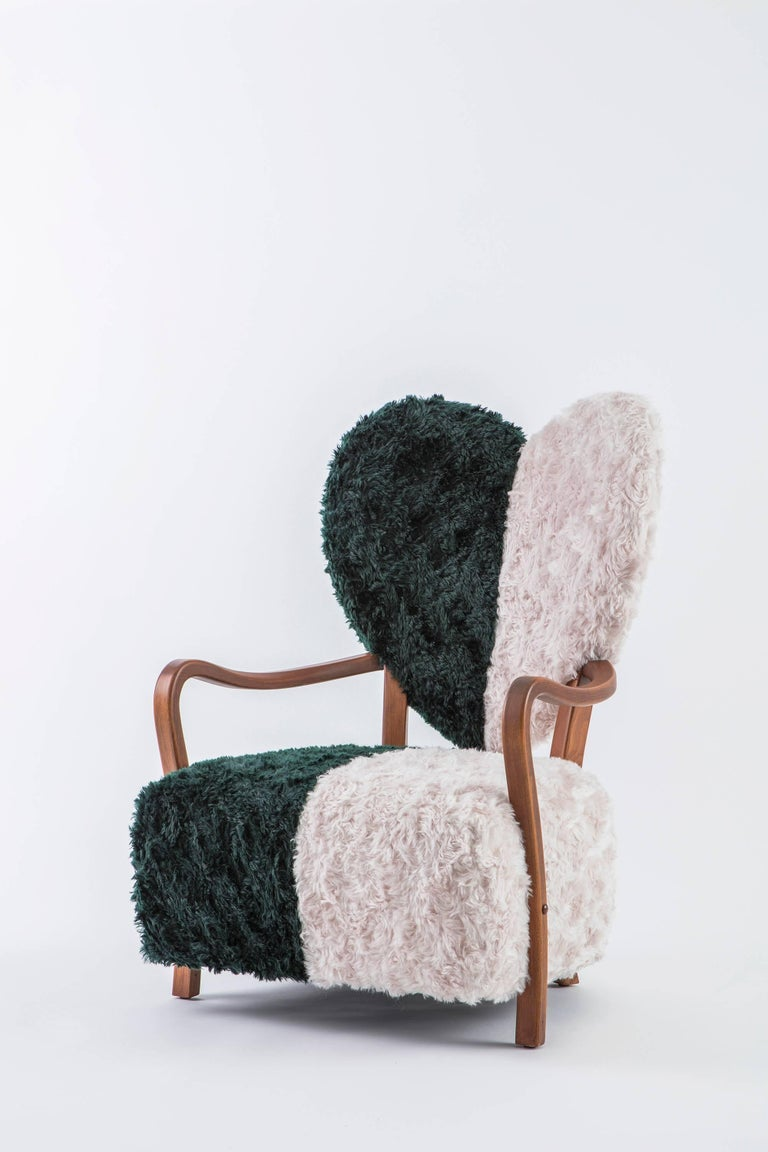 Contemporary Beechwood Uni Armchair With Heart Shaped Back