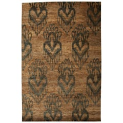 Contemporary Beige and Brown Ikat 15 Rug