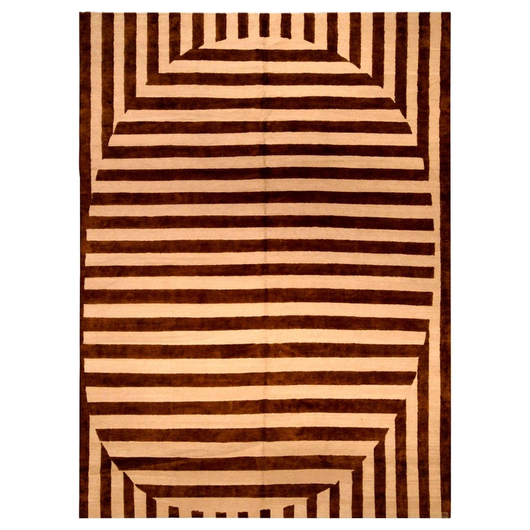 Contemporary Beige and Brown Striped Alberto Pinto Rug For Sale
