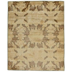 Contemporary Beige and Brown Hand Knotted Silk Rug