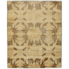 Contemporary Beige & Brown Silk Rug