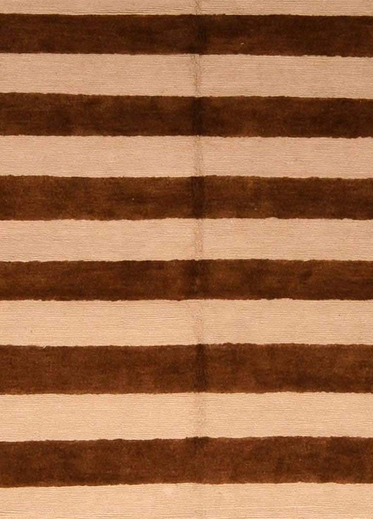 Contemporary beige and brown striped Alberto Pinto rug Size: 9'0