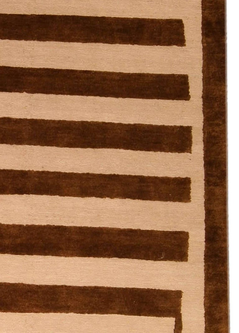 Modern Contemporary Beige and Brown Striped Alberto Pinto Rug For Sale