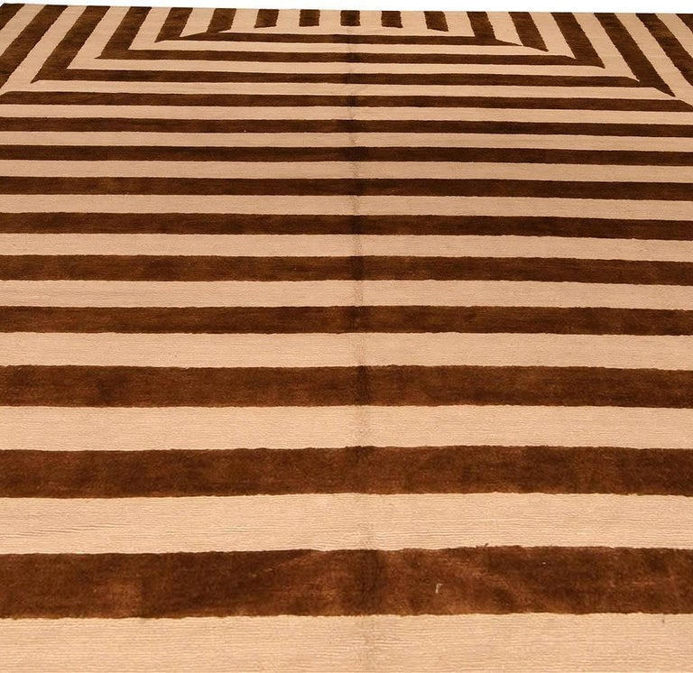 Indian Contemporary Beige and Brown Striped Alberto Pinto Rug For Sale