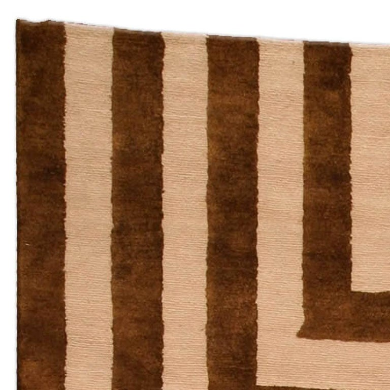 Hand-Knotted Contemporary Beige and Brown Striped Alberto Pinto Rug For Sale