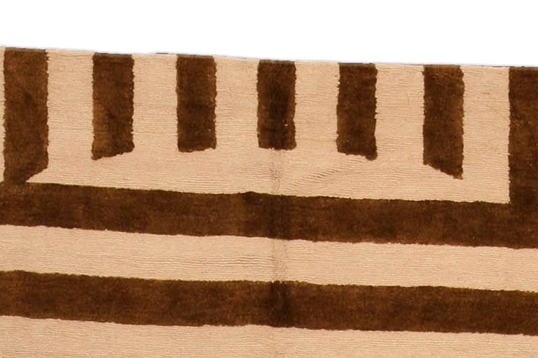 Contemporary Beige and Brown Striped Alberto Pinto Rug In New Condition For Sale In New York, NY
