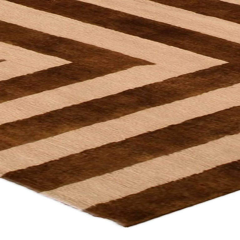 Wool Contemporary Beige and Brown Striped Alberto Pinto Rug For Sale