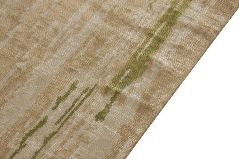 Modern Contemporary Beige Green Runner Geometric Floral Silk Rug by Rug & Kilim For Sale