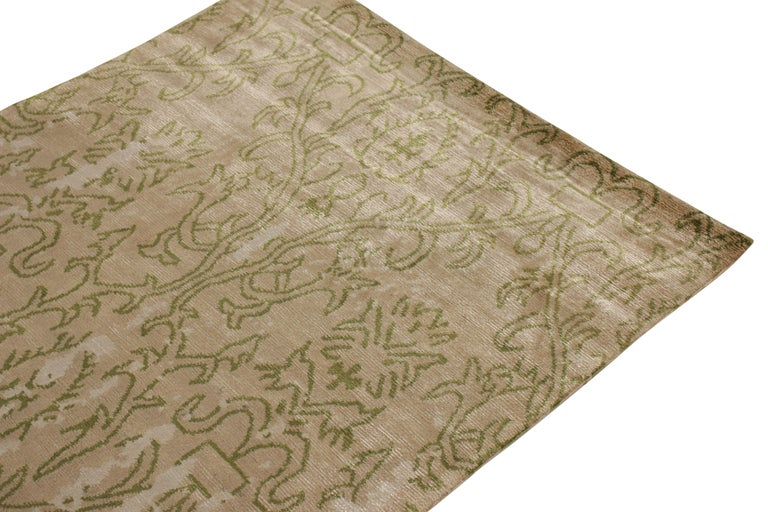 Nepalese Contemporary Beige Green Runner Geometric Floral Silk Rug by Rug & Kilim For Sale
