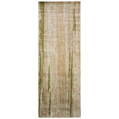 Contemporary Beige Green Runner Geometric Floral Silk Rug by Rug & Kilim