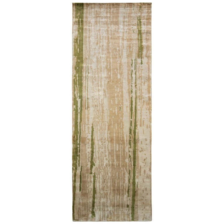 Contemporary Beige Green Runner Geometric Floral Silk Rug by Rug & Kilim For Sale