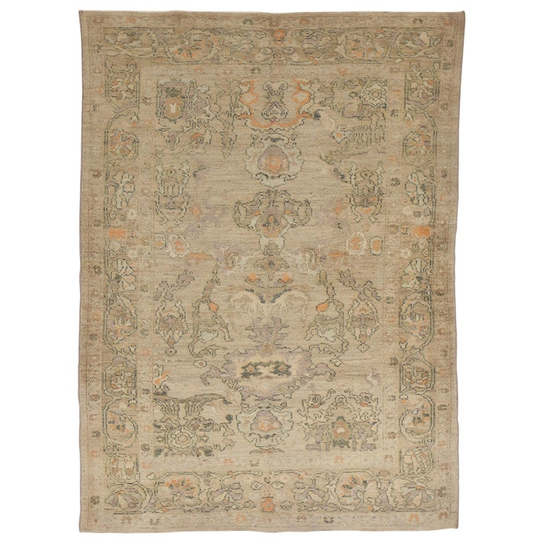 Contemporary Beige Persian Oushak Rug With Black And Orange Floral Patterns