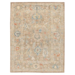 Contemporary Beige Sultanabad Handmade Floral Wool Rug