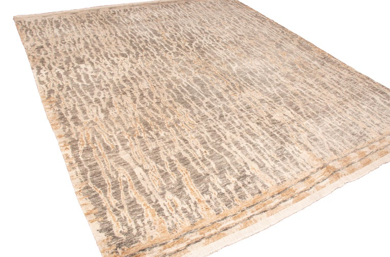 Modern Contemporary Beige Wool Rug For Sale