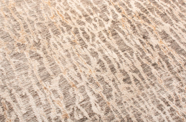 Indian Contemporary Beige Wool Rug For Sale