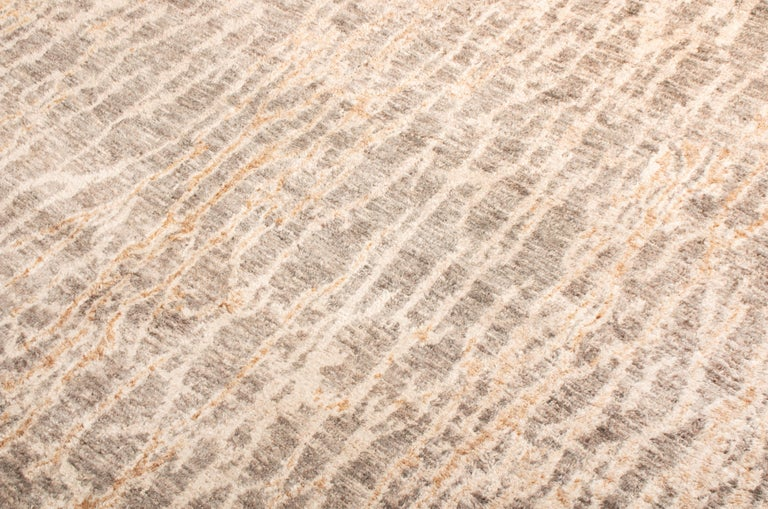 Hand-Knotted Contemporary Beige Wool Rug For Sale