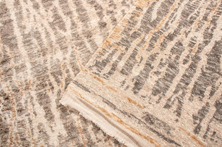 Contemporary Beige Wool Rug For Sale 1