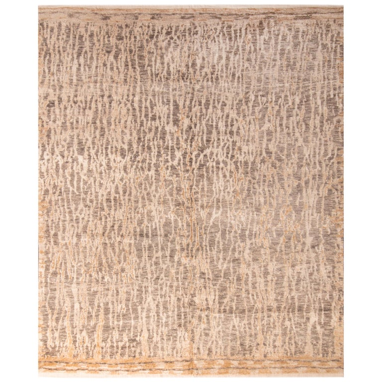 Contemporary Beige Wool Rug For Sale