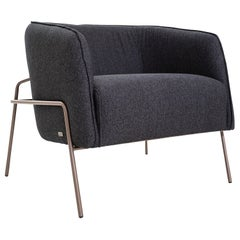 Contemporary Bella Armchair Featuring Metal Frame and Black Fabric