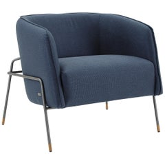 Contemporary Bella Armchair Featuring Metal Frame and Navy Fabric